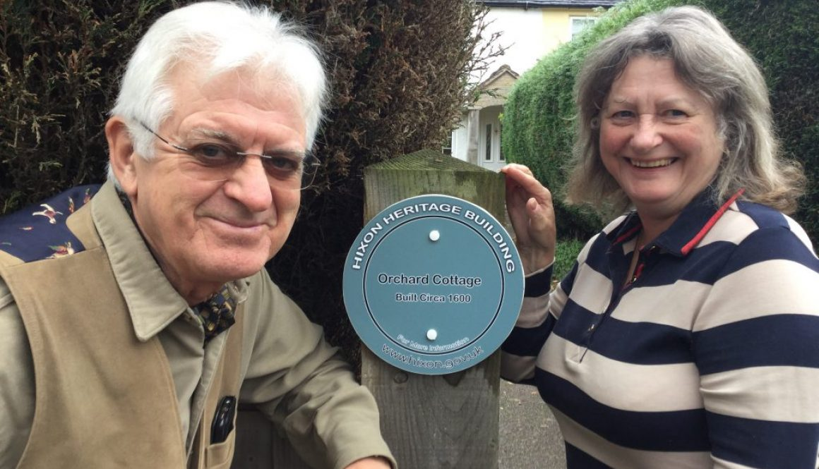 David & Jenny of Orchard Cottage are pleased to be the first recipients of a Hixon Heritage Building plaque.