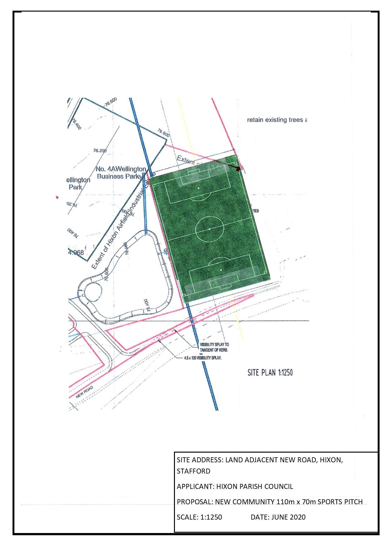 marked out football pitch plan for planning HPC